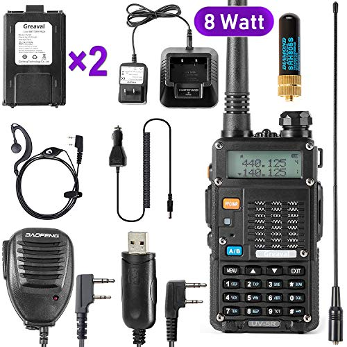 Ham Radio Walkie Talkie (UV-5R 8-Watt) UHF VHF Dual Band 2-Way Radio with 2 Rechargeable...