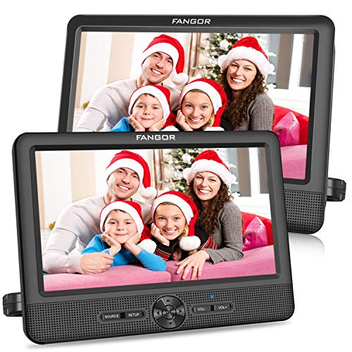 FANGOR 10'' Dual Car DVD Player Portable Headrest CD Players with 2 Mounting Brackets,...