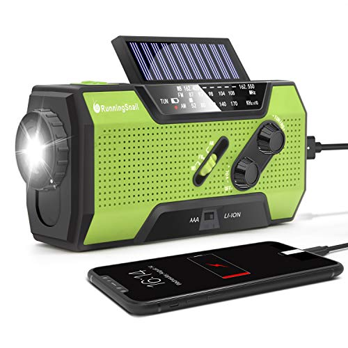 RunningSnail Solar Crank NOAA Weather Radio for Emergency with AM/FM, Flashlight, Reading...