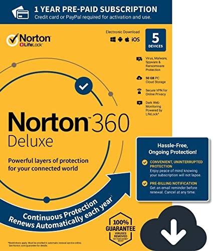 Norton 360 Deluxe – Antivirus software for 5 Devices with Auto Renewal - Includes VPN,...