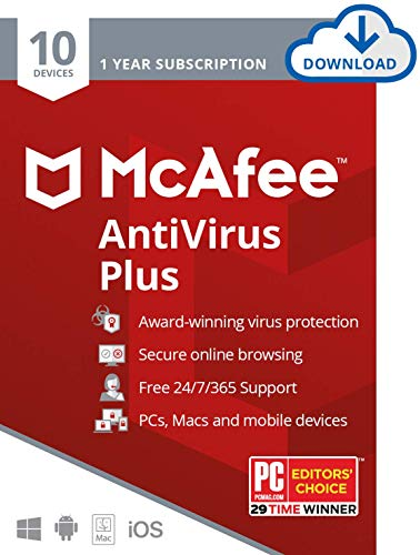 McAfee AntiVirus Plus, 10 Devices, Internet Security Software, 1 Year...