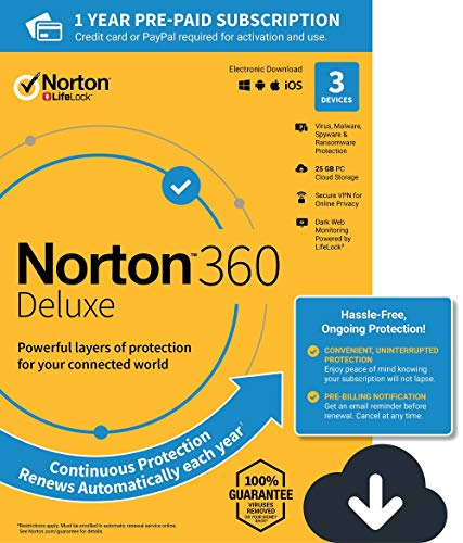 Norton 360 Deluxe – Antivirus software for 3 Devices with Auto Renewal -...