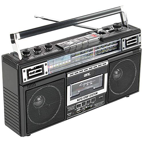 QFX J-220BT ReRun x Cassette Player Boombox with 4-Band Radio, MP3 Converter, and...