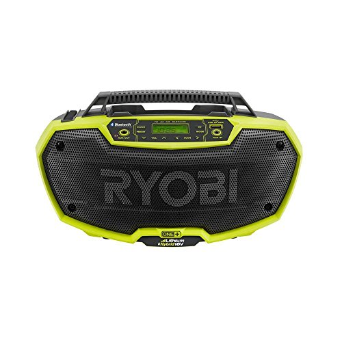 Ryobi P746 One+ 18-Volt Lithium Ion / AC Dual-Powered AM/FM Stereo System with USB and...