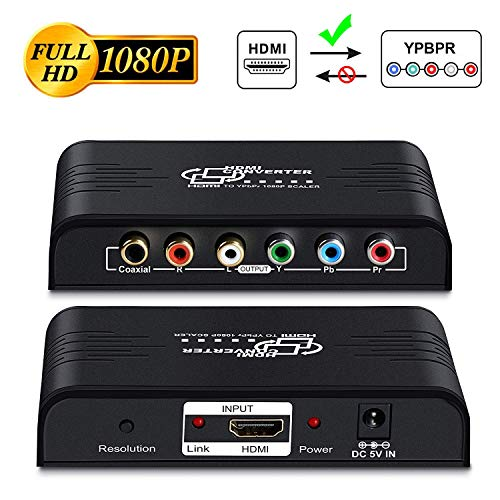 HDMI to YPbPr Scaler Converter-MOYOON HDMI to Component Video 1080P (YPbPr) RGB + R/L...