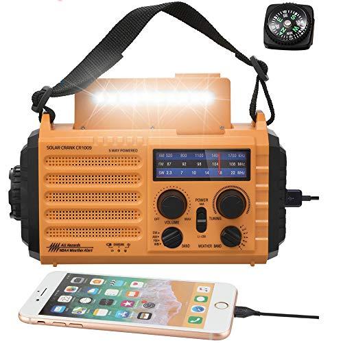 5-Way Powered Solar Hand Crank NOAA Weather Alert Radio,AM/FM Shortwave Survival Portable...