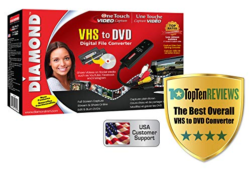 Diamond VC500 USB 2.0 One Touch VHS to DVD Video Capture Device with Easy to use Software,...