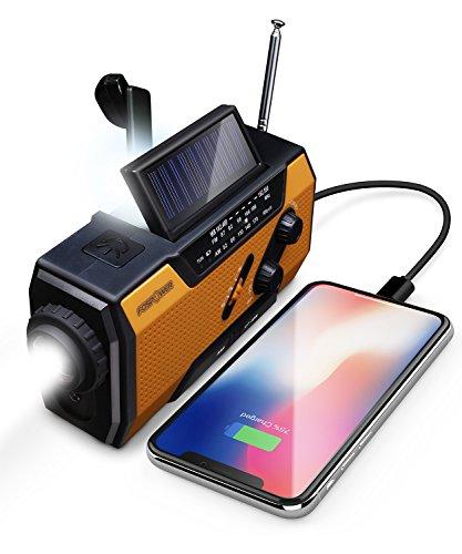 FosPower Emergency Solar Hand Crank Portable Radio, NOAA Weather Radio for Household and...