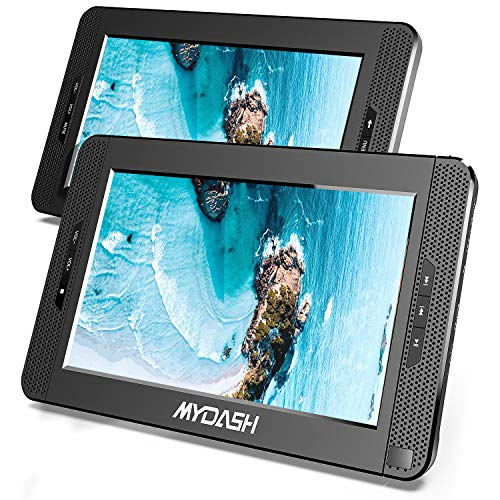 MYDASH 2020 10.1' Dual Screen DVD Player, Car Headrest CD Players with Built-in 5 Hrs...