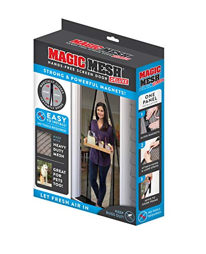 Magic Mesh Deluxe- Black- Hands Free Magnetic Screen Door, Mesh Curtain Keeps Bugs Out,...