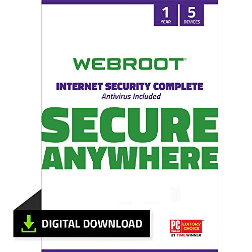 Webroot Internet Security Complete with Antivirus Protection Software 5 Device 1 Year...