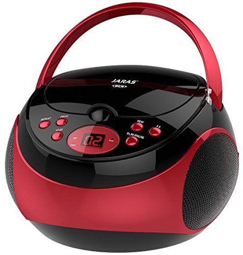 Jaras JJ-Box89 Red/Black Sport Portable Stereo CD Player with AM/FM Stereo Radio and...