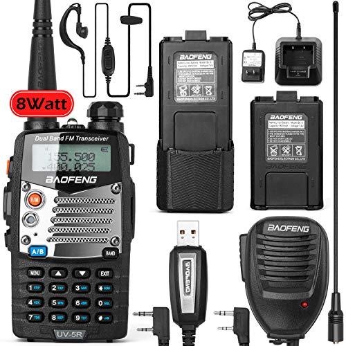 BaoFeng UV-5RM 8-Watt Ham Radio Walkie Talkie UHF VHF Dual Band 2-Way Radio with an Extra...