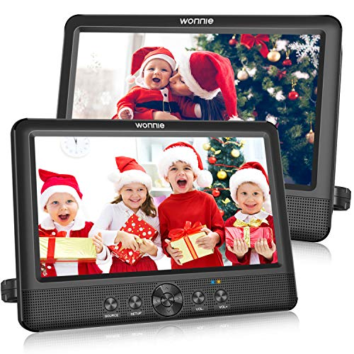 WONNIE 10.5' Dual Portable DVD Player for Car Twins CD Players Play Same or Two Different...