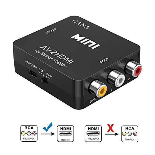RCA to HDMI, GANA 1080P Mini RCA Composite CVBS AV to HDMI Video Audio Converter Adapter...