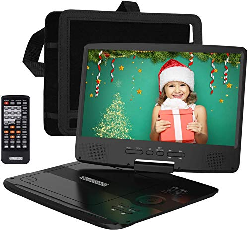 HDJUNTUNKOR Portable DVD Player with 10.1' HD Swivel Display Screen, 5 Hour Rechargeable...