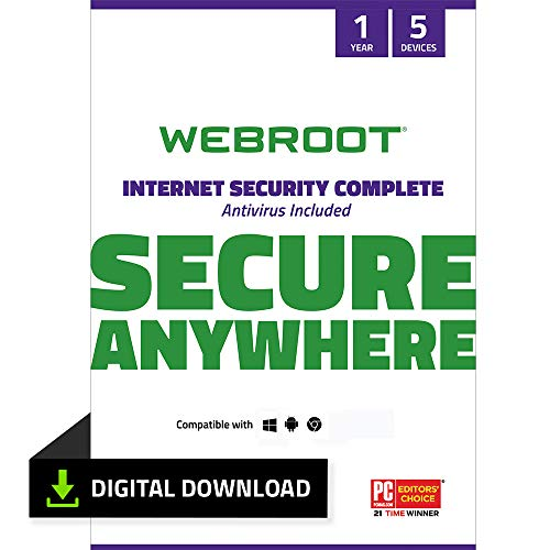 Webroot Internet Security Complete with Antivirus Protection Software 5...