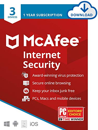 McAfee Internet Security, 3 Device, Antivirus Software, Password Manager, 1...
