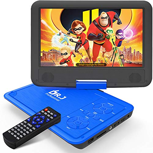DR. J 11.5' Portable DVD Player with HD 9.5' Swivel Screen, Rechargeable Battery with Wall...