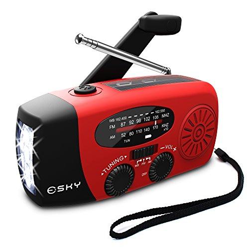[Upgraded Version]Emergency Radio, Esky 3 LED Lights Flashlight Hand Crank Radio, Portable...