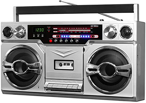 Victrola 1980s Retro Bluetooth Boombox with Cassette Player and AM/FM Radio, Wired and...