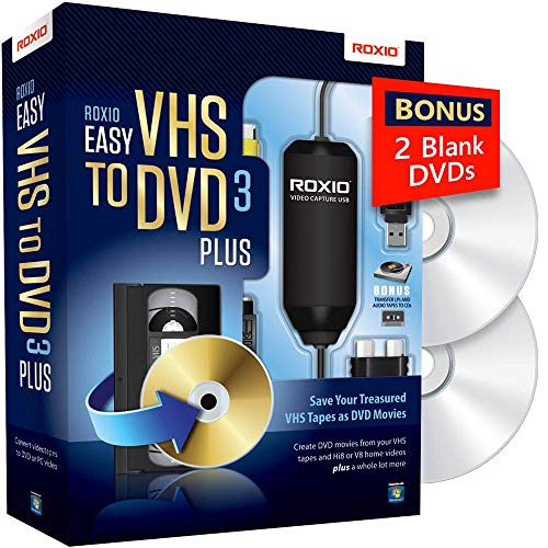 Roxio Easy VHS to DVD 3 Plus | VHS, Hi8, V8 Video to DVD or Digital Converter | Amazon...