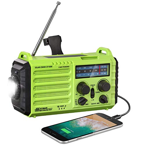Weather Radio - Rocam Emergency Hand Crank Portable Radio Solar Power AM/FM/SW/NOAA...